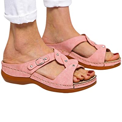 Sandals for Women,Summer Buckle Strap Wedges Beach Open Toe Breathable Flats Fashion Soft Bottom Roman Shoes: Clothing