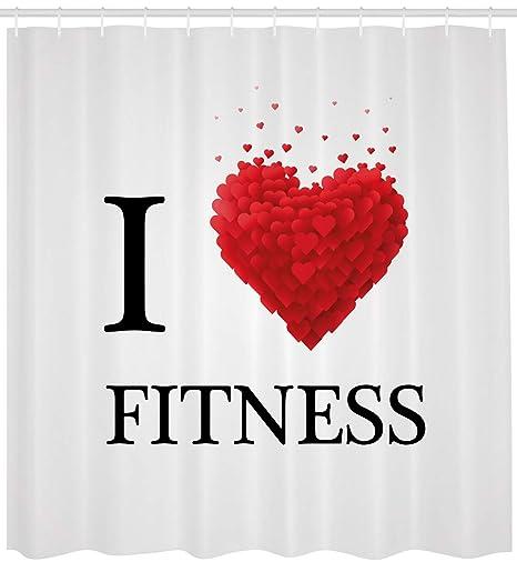 Fitness cortina de ducha por Ambesonne, I Love modern tipo de letra de fitness con