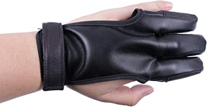 Cow Leather Finger Protection Guard Archery Targeting Recurve Bow Protect Glove