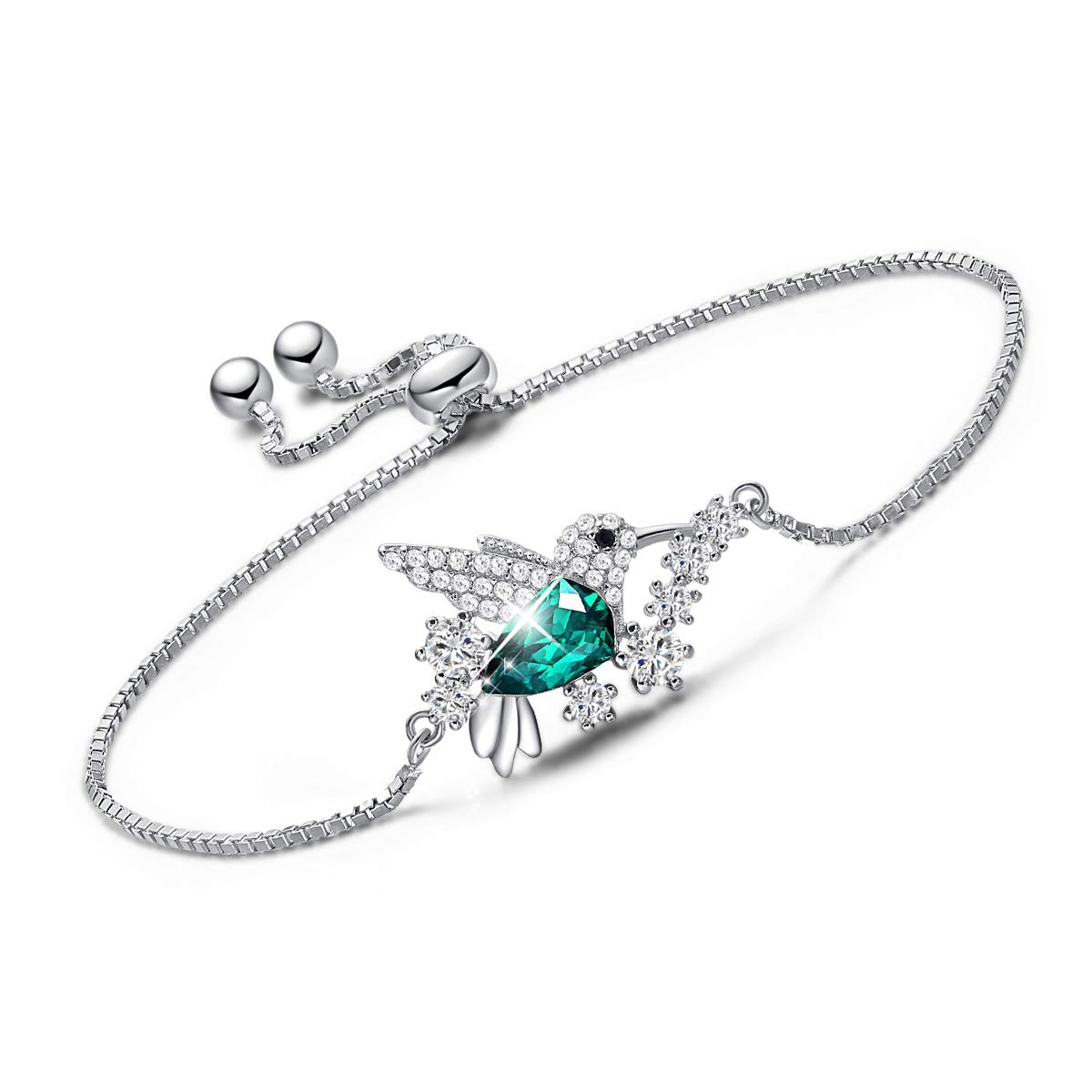 89cf87cc0fc63 CDE Hummingbird S925 Sterling Silver Bracelet, Fine Green Jewelry Bracelet  Bangle Embellished with Crystals from Swarovski Women Cuff