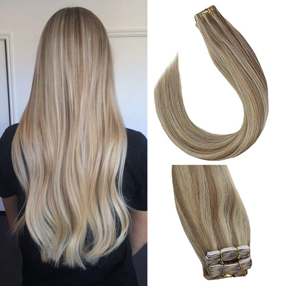 Sunny Tape in Hair Extensions 18 inch Tape in Ash Blonde Hair Extensions Seamless Skin Weft Human Hair #18 Highlights #613 Piano Color Tape in Extensions 20 pcs/50g by Sunny Hair