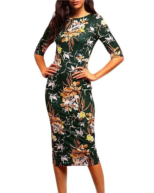 Vestidos Ajustados Mujer Cortos Vestidos Vintage Estidos Coctel Elegantes Floral Impresión Como Imagen 2XL