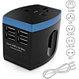 Travel Adapter, Universal Travel Adapter All in One International Travel Adapter with 3 in1 USB Cable AC Power Plug Adapter with 2.4A 4 -Port USB Wall Charger for US EU UK AUS 200+ Countries