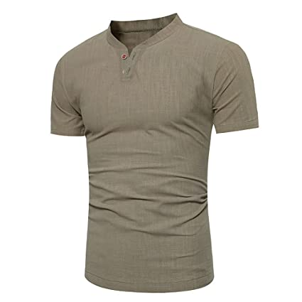 de178a3662586 Amazon.com: Birdfly Men's Linen Slim Fit Two Button Down Short-Sleeved  Plain Stand Collar T-Shirt (M, Army Green): Computers & Accessories