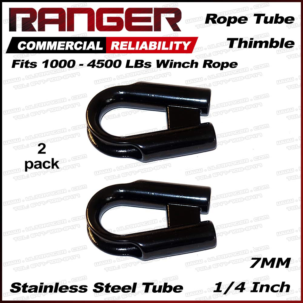 Ultranger 4350427116 Pack of 2 Ranger 7MM 1//4 Stainless Steel Rope Tube Thimble for 1//4 or 3//16 Wire or Synthetic Winch Rope
