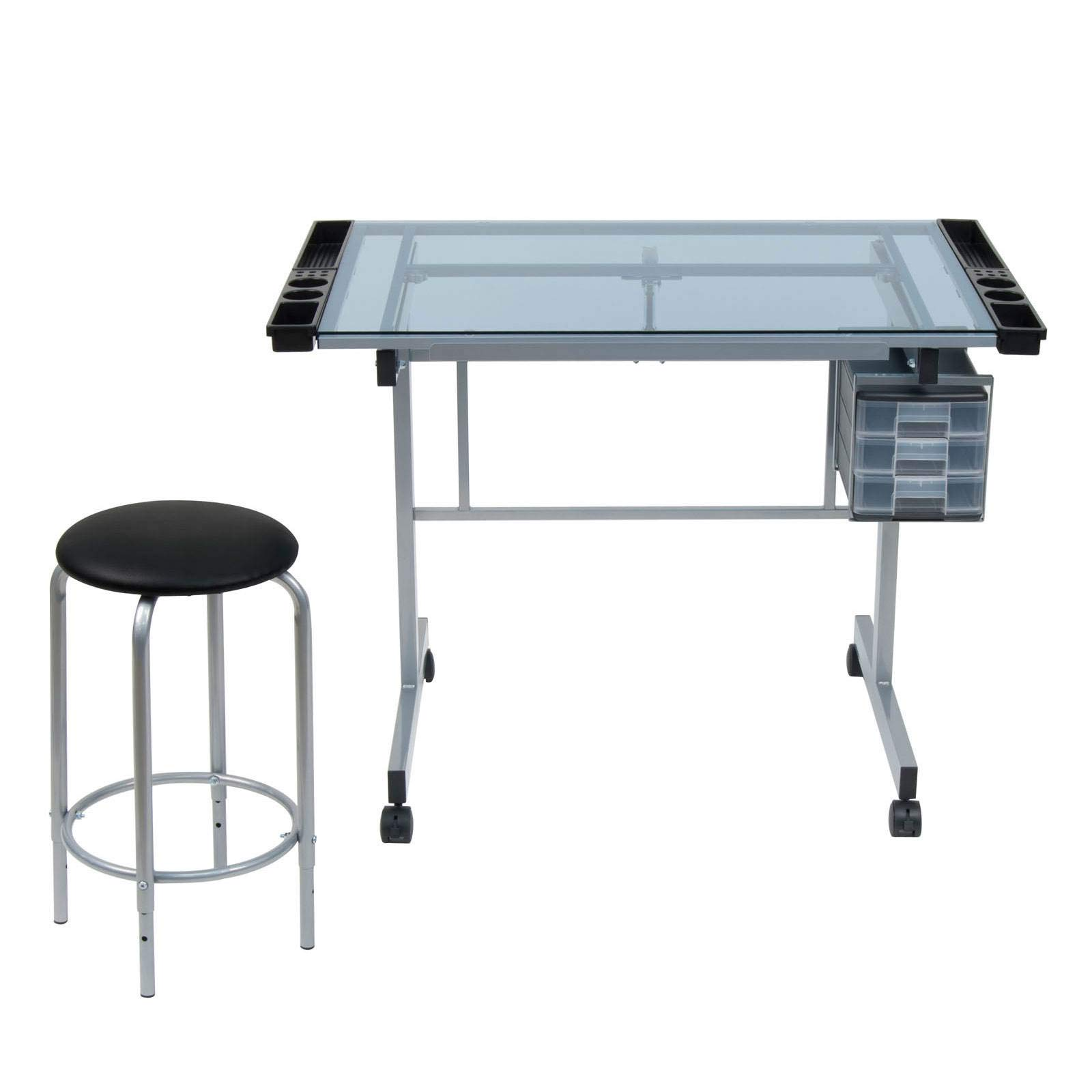 SD Studio Designs Studio Designs 2 Piece Vision Modern Metal Hobby, Craft, Drawing, Drafting Table, Mobile Desk with 40.75'' W x 25.75'' D Angle Adjustable Top in Silver/Blue Glass by SD STUDIO DESIGNS