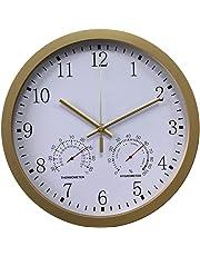 PHYNEDI 30 cm Reloj de Pared con termómetro y higrómetro Marco Aluminio Cepillado Reloj de Pared