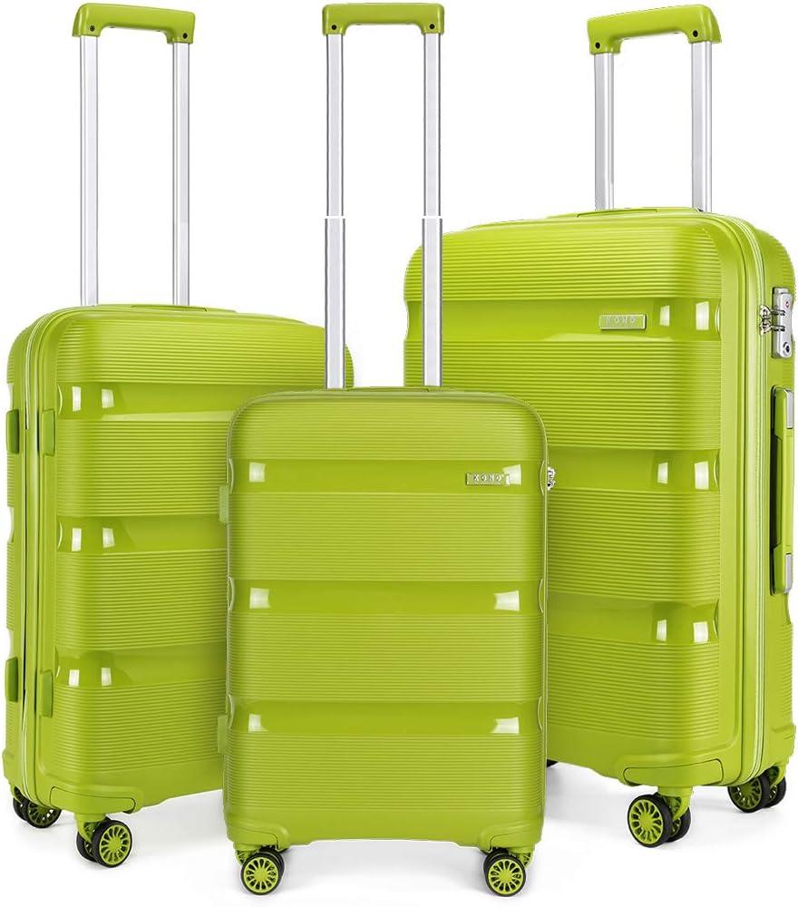 Kono - Juego de 3 Maletas Ligeras de Viaje de Equipaje de Mano de Polipropileno con 4 Ruedas giratorias y Bloqueo TSA (Verde Manzana, Juego de 3 Piezas (20