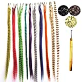 50 Pack Synthetic Hair Feathers, Grizzly Feather Hair Extensions Kits With 100 Micro Link Beads + A Free Micro Loop Hook