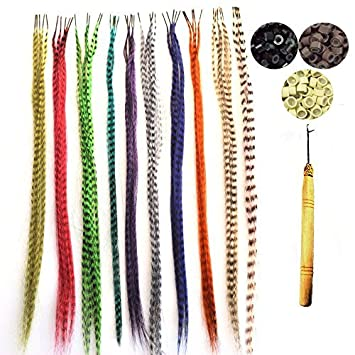 Amazon 50 pack synthetic hair feathers grizzly feather hair 50 pack synthetic hair feathers grizzly feather hair extensions kits with 100 micro link beads solutioingenieria Image collections