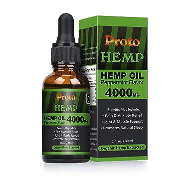 ProtoHemp Hemp Oil Drops, 4000mg High Strength 30ml | Pure and Natural |  CO2 Extracted | Vegan & Vegetarian