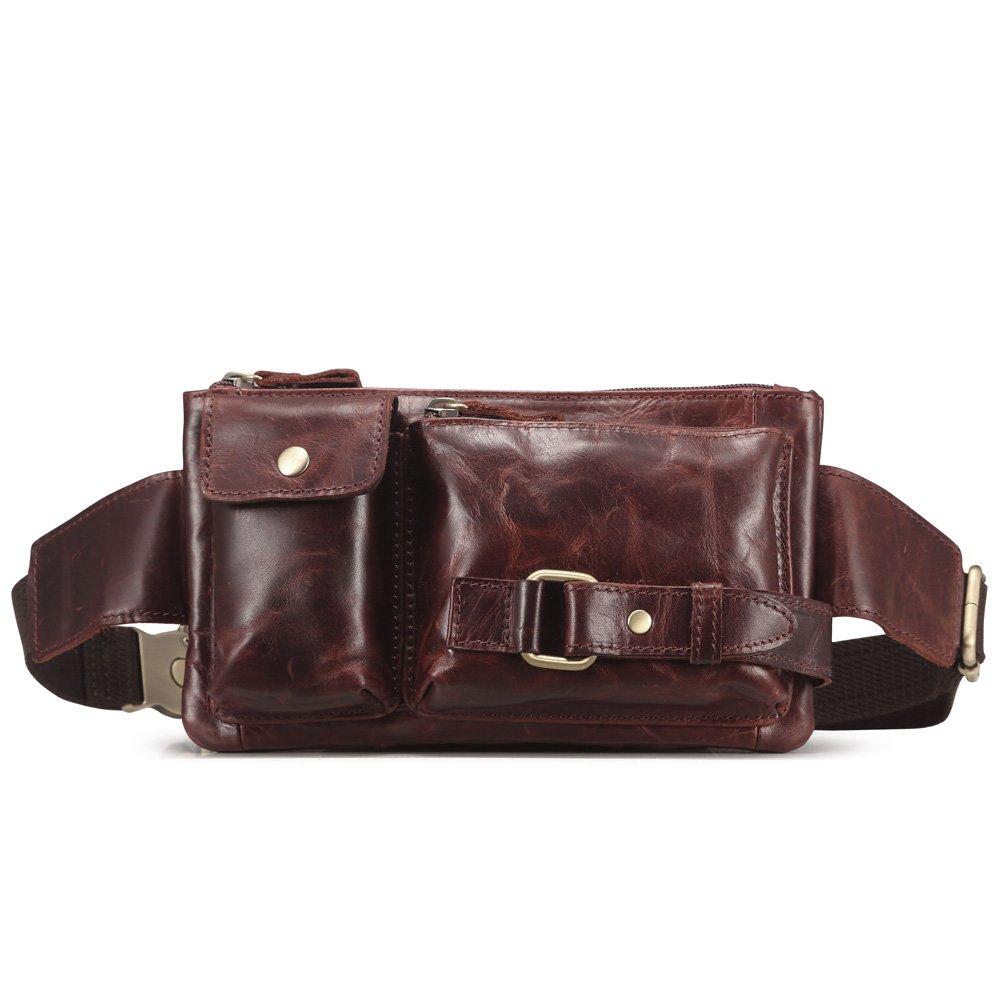 Teemzone Unisex Retro Leather Waist Backpack Phone Holder Fanny Sling Bag (Red)