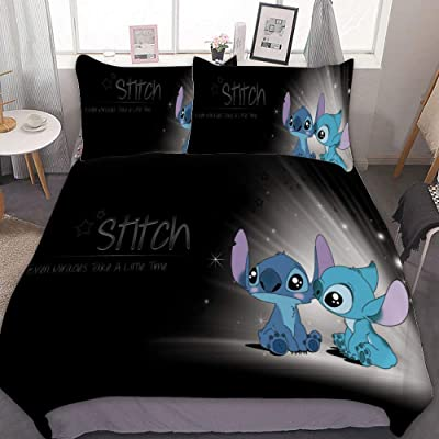 MEW Anime Bedding Duvet Cover Set,Twin (68x86 inch), Lilo Stitch (8),3 Pieces Bedding Set,with Zipper Closure and 2 Pillow Shams,Cute Cartoon Bedroom Comforter Sets, for Boys Girls: Home & Kitchen