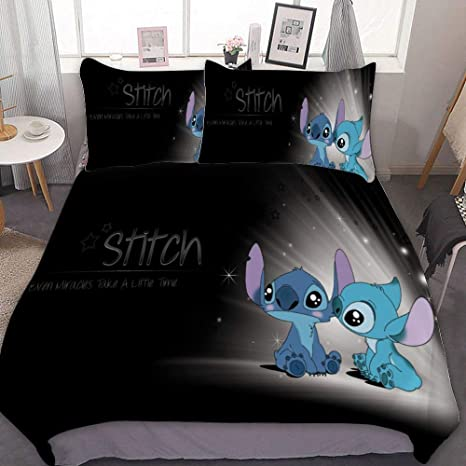 Mew Anime Bedding Duvet Cover Set Full Queen 90x90 Inch Lilo Stitch 8 3 Pieces Bedding Set With Zipper Closure And 2 Pillow Shams Cute Cartoon Bedroom Comforter Sets For Boys Girls Home Kitchen
