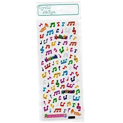 Crystal Stickers - Pegatinas de colores con forma de notas musicales: Oficina y papelería