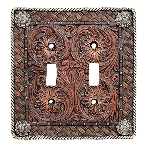 Black Forest Décor Tooled Leather Switch Plate Cover - Western Rustic Style Home