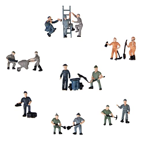 25pcs Painted Model Train Railway Workers People Figures with Ladder and Bucket---Mixed Style 1:87