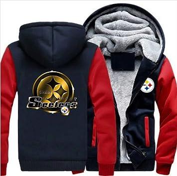 メンズフーディーフルジッパープリントアメリカンフットボール42#スティーラーズベルベットパッド入りフード付きセーターコートフリースフーディー、冬に適しています
