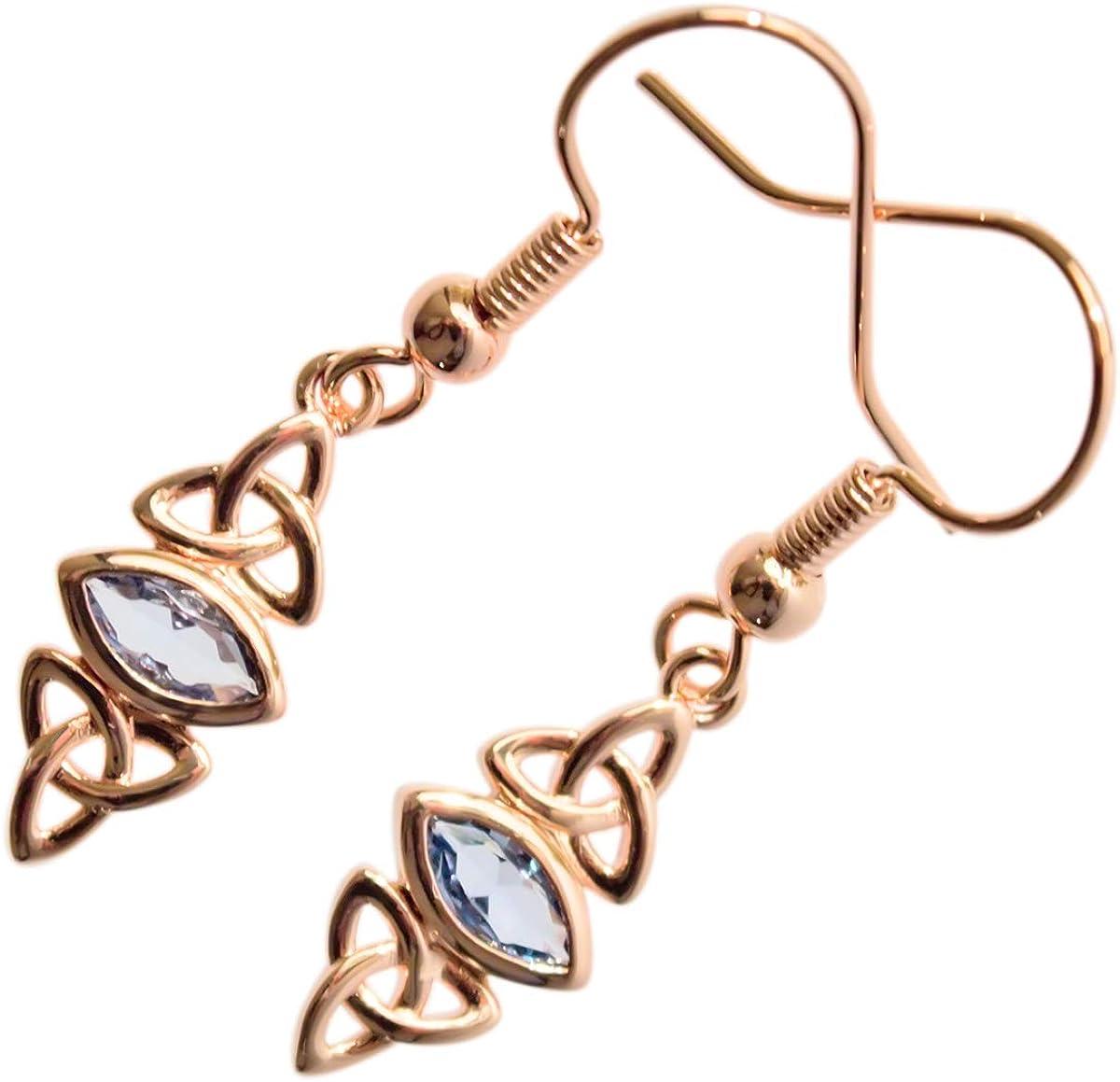 GWG Jewellery Pendientes Mujer Regalo Pendientes Colgantes, Chapados en Oro Rosa 18K Triquetras Celtas de Trinidad Abrazadas Cristal de Colores Varios para Mujeres
