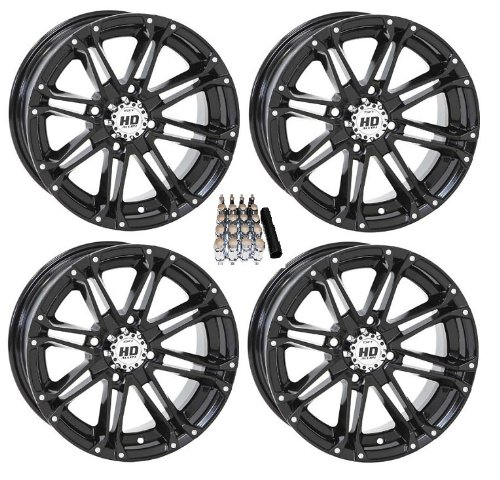 "STI HD3 ATV Wheels/Rims Black 14"" Kawasaki Teryx Mule (4)"