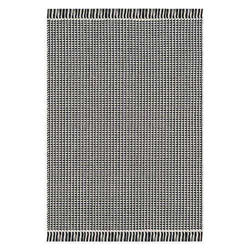Safavieh Montauk Collection MTK340D Handmade Flatweave Ivory and Black Cotton Area Rug (6' x 9')