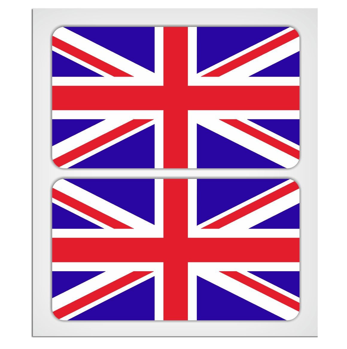 2 X 70mm - 2.76' UK Union Jack flags Laminated Decal Sticker High Quality by MioVespa collection BILLET ONE