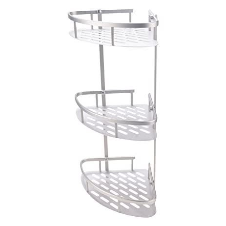 Amazon.com: BATHWA 3-Tier Anti-Rust Aluminum Corner Shelf Bathroom ...