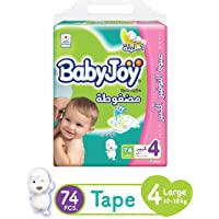 Babyjoy Compressed Diamond Pad Diapers, Giant Pack Large Size 4 Count 74-10 to 18Kg