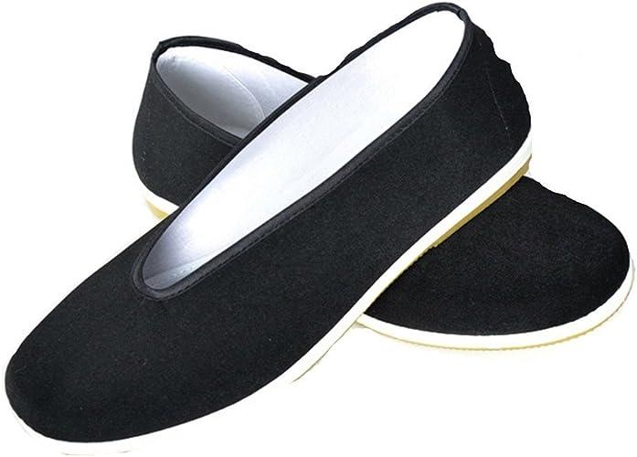 Chaussures de Kung Fu Chinois Traditionnel Art Martiaux Vieux P/ékin D/écontract/ée Chaussures Noir Chaussures de Toile Classique Plat Chaussures