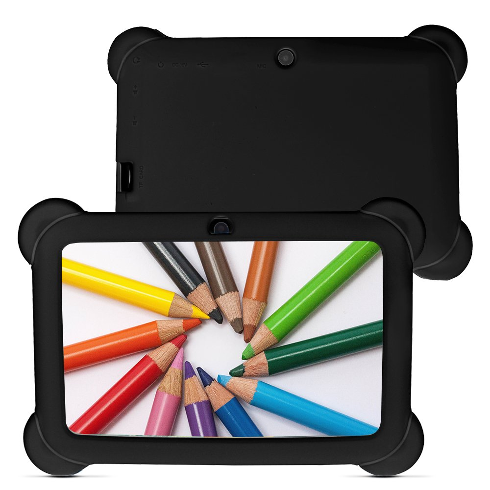 Yuntab 8GB Q88 7 inch Android Quad-core Tablet PC, 1024600, Allwinner A33, Google Android 4.4 Tablet with Silicone Protective Cover Case (Black-Black)