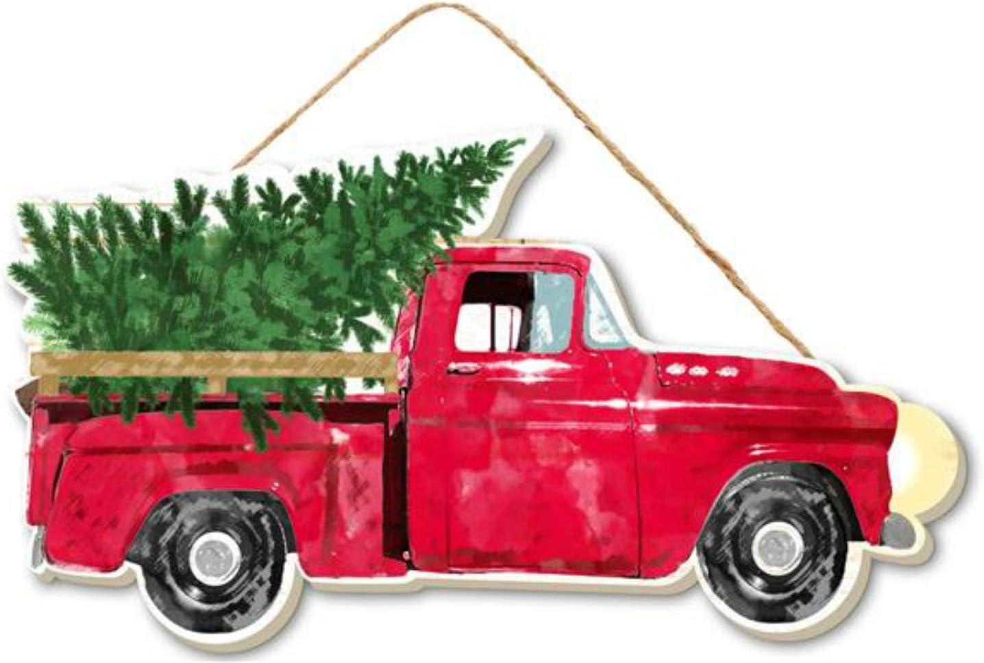 Amazon Com 10 Wood Vintage Red Truck With Christmas Trees Christmas Decor Vintage Red Truck Wall Or Door Hanger Home Kitchen