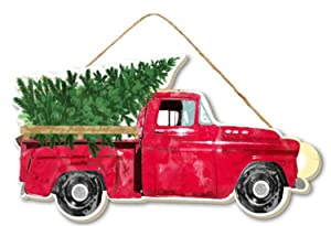 "Craig Bachman 10"" Wood Vintage Red Truck with Christmas Trees- Christmas Decor - Vintage Red Truck Wall or Door Hanger"