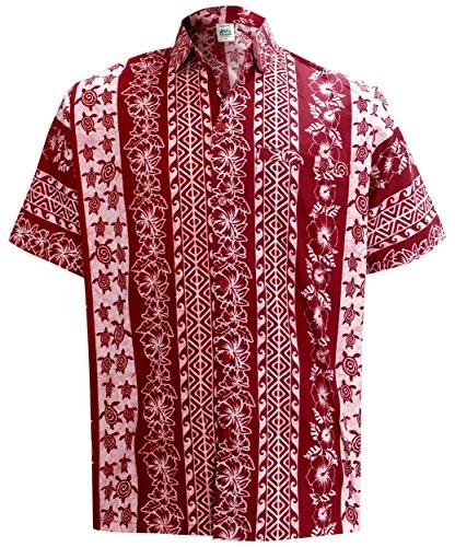 La Leela* Bouton Coton Imprimé Aloha Casual Chemise à Manches Courtes Pour les Hommes Hawaiien XXL Roug