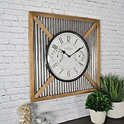 FirsTime & Co. FirsTime Barn Outdoor Wall Clock, Natural Wood