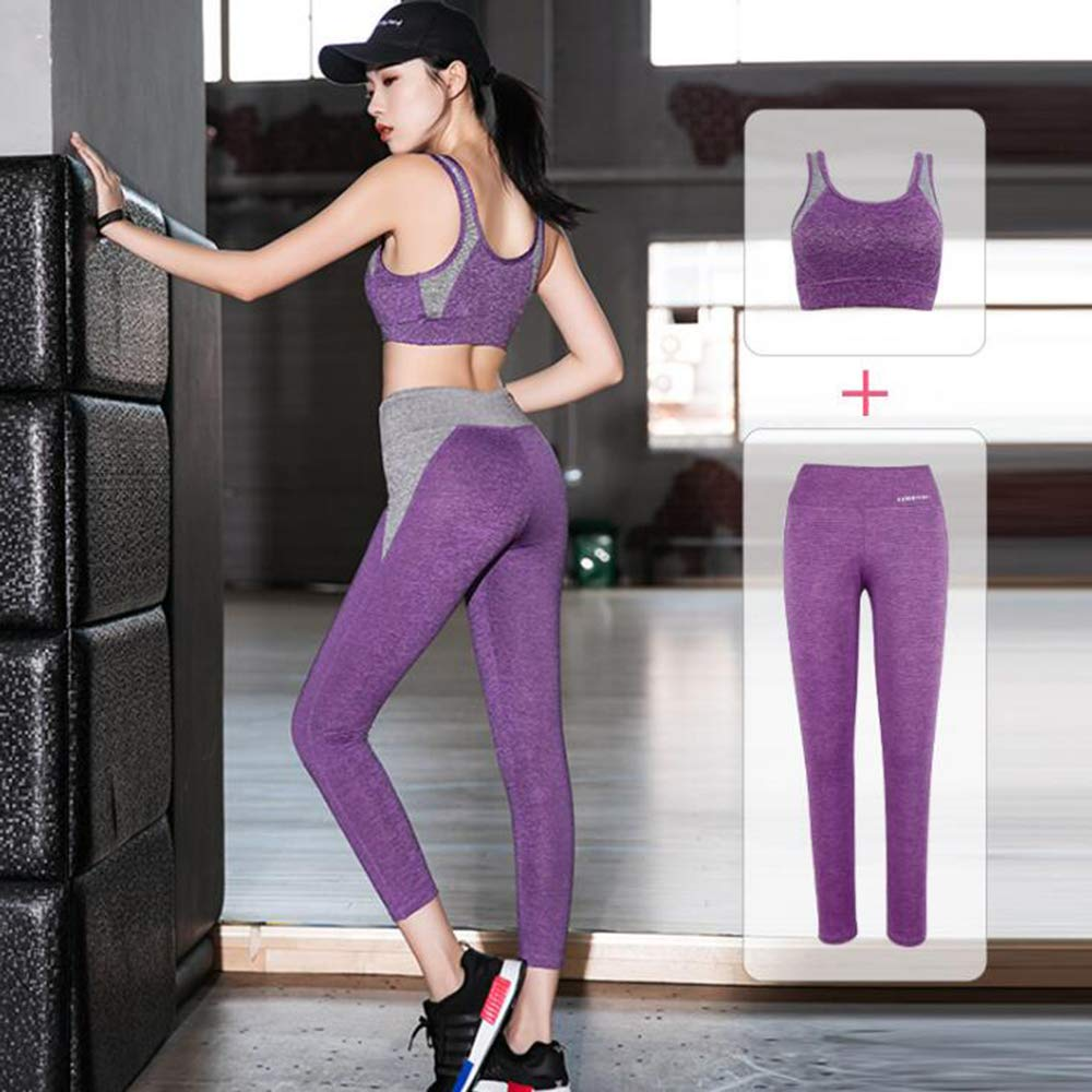 Purple Sports Sweatshirt Sets for Women, Tracksuit Sweatshirt Pants Long Sleeve Casual Suit TShirt Tops Gym Yoga Workout Running 2 Pcs
