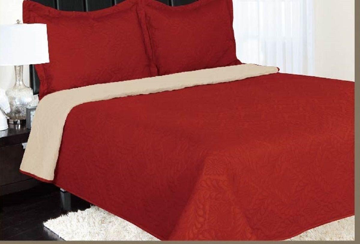 3-Piece Full Eve Solid Red Beige Reversible Quilt Bedding Bedspread Coverlet Set