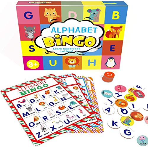 Deeplay Alphabet Bingo Game Card Board Matching Game Set, ABC Letters Animals Recognition Learning Bingo Paper Game Supplies for Kids, Preschoolers, Classroom, Kindergarten and Group Games (Games For Preschoolers)
