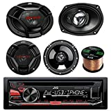 JVC KD-R670 CD/MP3/WMA Receiver Bundle Combo With 2x JVC CS-DR6930 6x9'' 1000w 3-Way Vehicle Stereo Coaxial Speakers + 2x CS-DR620 6.5'' 300W 2-Way Audio Speakers + Enrock 50 Foot 16 Guage Speaker Wire