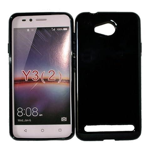 Dark Case Style - Silikon TPU Handy Cover Hülle Schale Kappe in Schwarz - für Huawei Y3 II - Y3 2