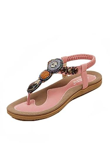 a1a925a90f0b Sandalen Damen Sommer Süße Perlen Clip Toe Wohnungen Bohemian Fischgräten  Sandalen (36, Rosa)