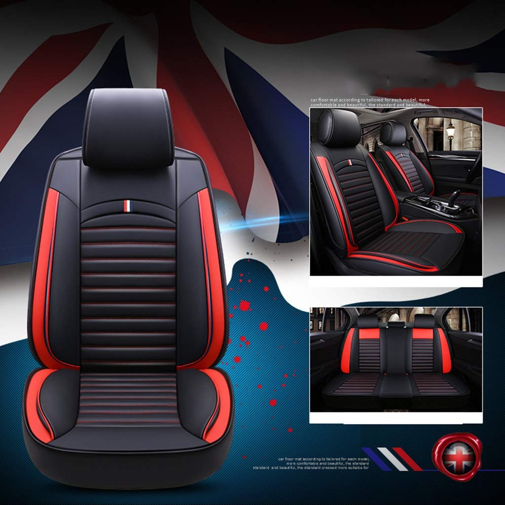 RUNWEI Car Seat Cushion Car Interior Seat Cover, Ice Silk Pad, Full Leather Seat (Color : Red)