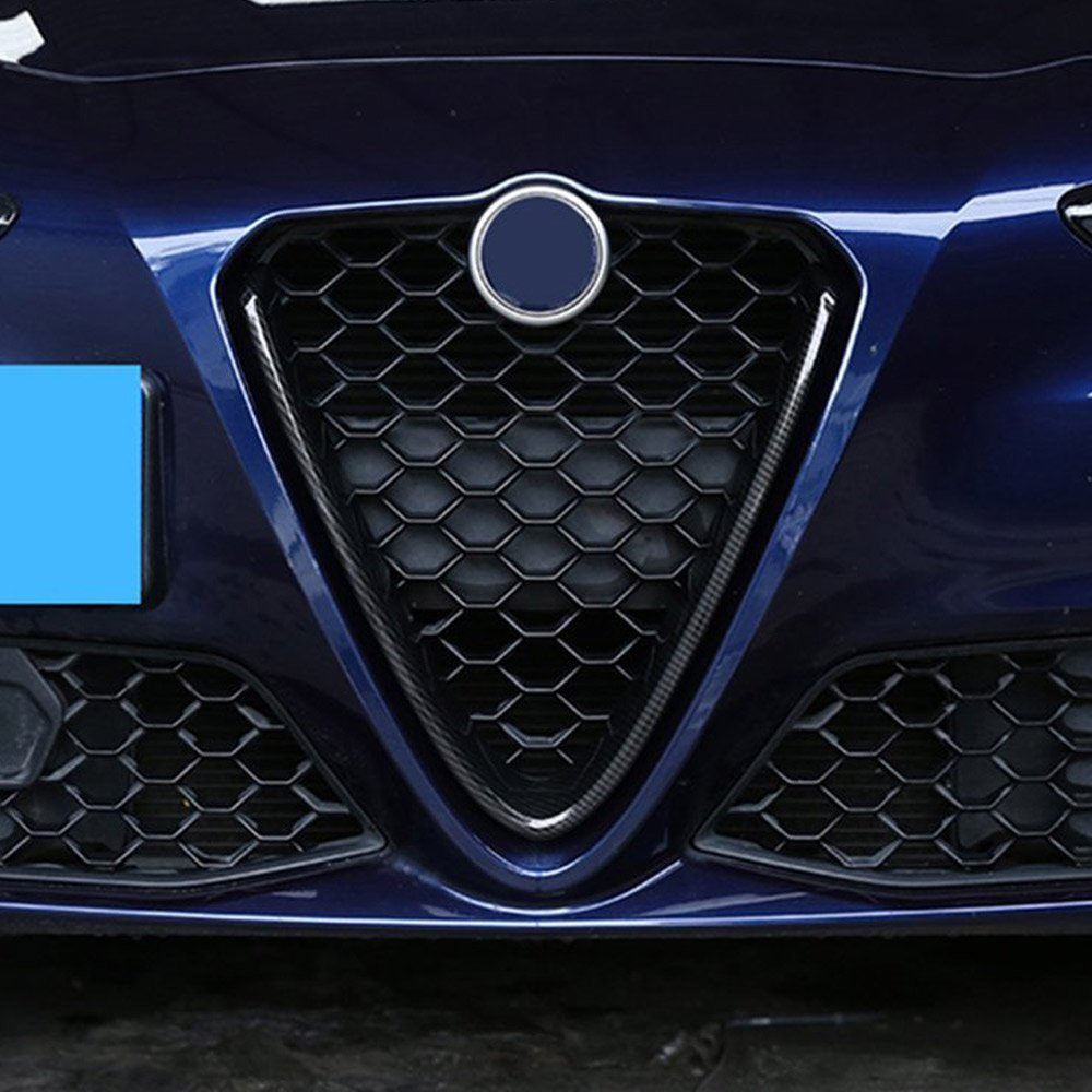 Carbon Fiber Style ABS Plastic Front Grill Decoration Frame Trim For Giulia 2017 2018 Parts DIYUCAR