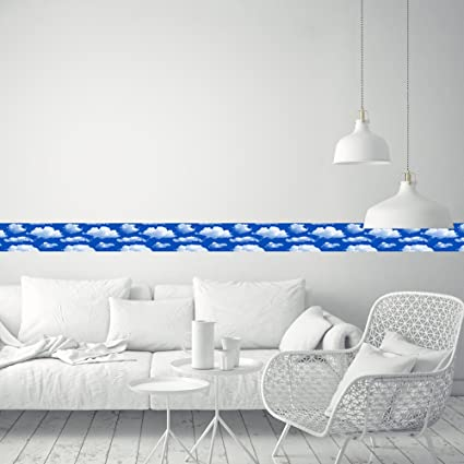 Genial Wallpaper Border Home Decor White Clouds For Livingroom Removable Vinyl  Peel And Stick Wall Border Waist