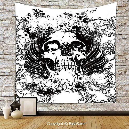 FashSam Polyester Tapestry Wall Scary Skull in Grunge Sketch Dead Themed Dark Horror Evil Illustration Image Hanging Printed Home Decor(W39xL59) -