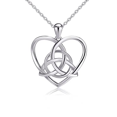Amazon 925 sterling silver good luck irish celtic knot triangle 925 sterling silver good luck irish celtic knot triangle vintage love heart pendant necklace 18 aloadofball