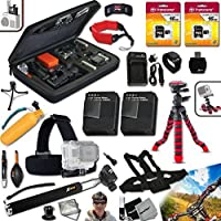 Xtech PROFESSIONAL Accessory kit for GoPro HERO 2 Hero2 Includes: a Head Strap Mount, Chest Strap Mount, Hand Held Monopod, 32GB High Speed Memory Cards, 12 inch Flexible Tripod, Floating Bobber Handle, 2 AHDBT-302 Batteries, AC/DC Quick Charger, Custom Large size Case + Floating Foam Strap + Remote Wrist Strap + Universal Card Reader + Mini Table Tripod + Ultra Fine HeroFiber Cleaning Cloth