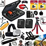 Xtech PROFESSIONAL Accessory kit for GoPro HERO 2 Hero2 Includes: a Head Strap Mount, Chest Strap Mount, Hand Held Monopod, 32GB High Speed Memory Cards, 12'' inch Flexible Tripod, Floating Bobber Handle, 2 AHDBT-302 Batteries, AC/DC Quick Charger, Custom