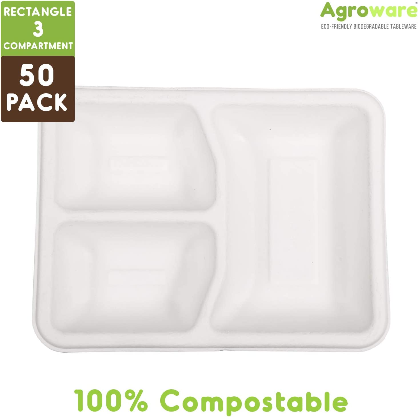 AgroWare Rectangular 3 Compartment Heavy Duty Disposable Tree-Free ...