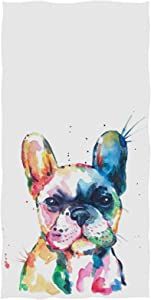 French Bulldog Puppy Bath Towels 64x32 in Watercolor Dog Colorful Art Bath Sheets Soft Absorbent Guest Bathroom Towel for Gym Sports Spa Beach Home Decor