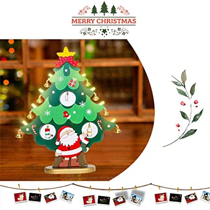 hiotech diy christmas tree decorations santa snowman bells detachable xmas tree stand with miniature christmas ornaments